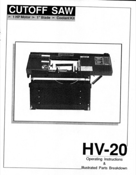 Band Saw Manual Carolina HV-20