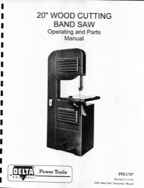 Band Saw Manual Delta 20