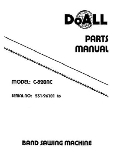 Band Saw Manual DoAll Heavy-Duty Double Column C-820NC