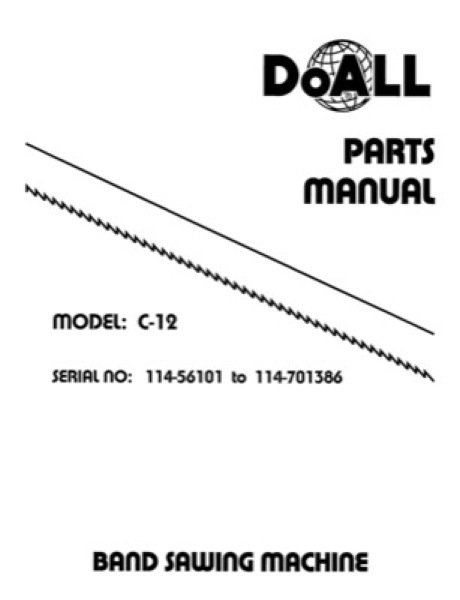 Band Saw Manual DoAll Production Power C-12