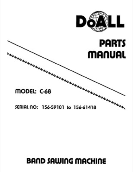 Band Saw Manual DoAll Production Power C-68