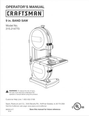 craftsman 12 inch band saw manual