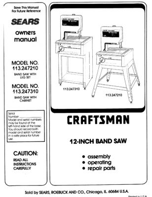 Sears Craftsman Model 113.247210 and 113.247310