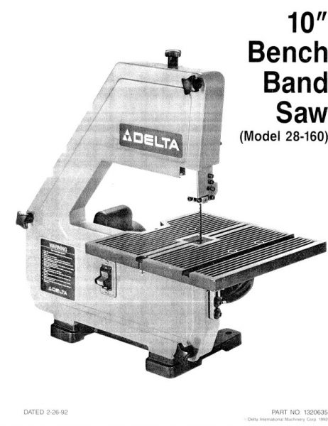 Band Saw Manual Delta 28-160 Type 1